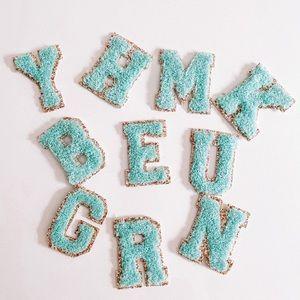 Mint Monogram Glitter Chenille Varsity Let…